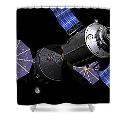 Deep Space Vehicle And Extended Stay Shower Curtain by Walter Myers