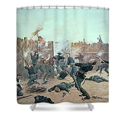 Defending The Fort Shower Curtain by Charles Schreyvogel