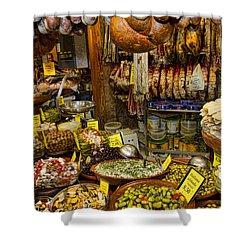 Deli In The Olivar Market In Palma Mallorca Spain Shower Curtain by David Smith