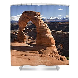 Delicate Arch Shower Curtain by Gloria & Richard Maschmeyer