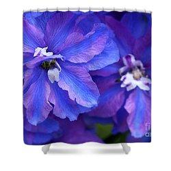 Delightful Delphinia Flowers Shower Curtain by Sabrina L Ryan