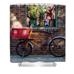 Delivery Bicycle Greenwich Village Shower Curtain by Susan Savad