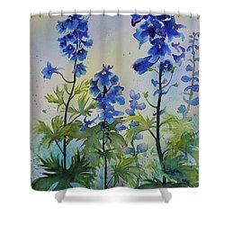Delphiniums Shower Curtain by Ruth Kamenev