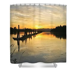 Shower Curtain featuring the photograph Delta Sunset by Albert Seger