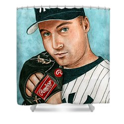 Derek Jeter  Shower Curtain by Bruce Lennon