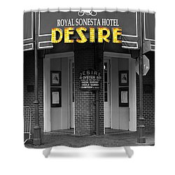 Desire Corner Bourbon Street French Quarter New Orleans Color Splash Black And White Digital Art  Shower Curtain