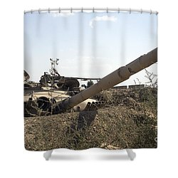Destroyed Iraqi Tanks Near Camp Slayer Shower Curtain by Terry Moore