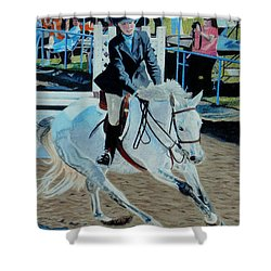 Determination - Horse And Rider - Horseshow Painting Shower Curtain by Patricia Barmatz