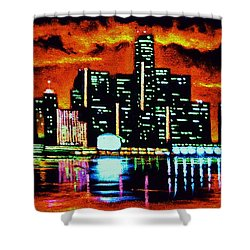 Detroit In Black Light Sold Shower Curtain