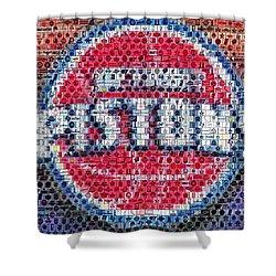 Detroit Pistons Mosaic Shower Curtain by Paul Van Scott