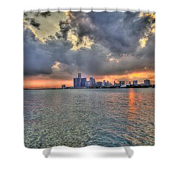 Detroit Sunset  Shower Curtain