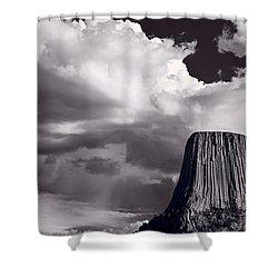 Devils Tower Wyoming Bw Shower Curtain by Steve Gadomski