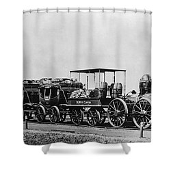 Dewitt Clinton Locomotive And Cars Shower Curtain by Omikron