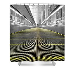 Shower Curtain featuring the photograph Dfw Airport Walkway Perspective Color Splash Black And White by Shawn O'Brien