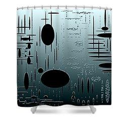 Digital Dimension In Aquamarine Series Image 1 Shower Curtain