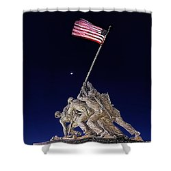 Digital Drawing - Iwo Jima Memorial At Dusk Shower Curtain