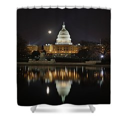 Digital Liquid - Full Moon At The Us Capitol Shower Curtain