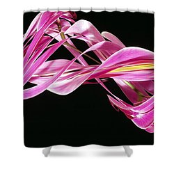 Digital Streak Image Of An Orchid Shower Curtain by Ted Kinsman