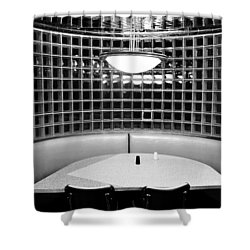Dining In Black And White Shower Curtain by David Lee Thompson
