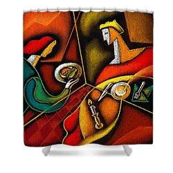Dinner Shower Curtain by Leon Zernitsky
