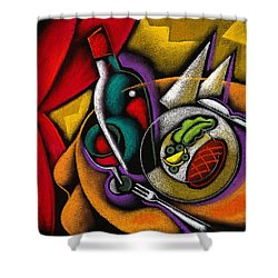 Dinner With Wine Shower Curtain by Leon Zernitsky