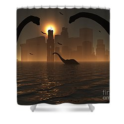 Dinosaurs Feed Near The Shores Shower Curtain by Mark Stevenson