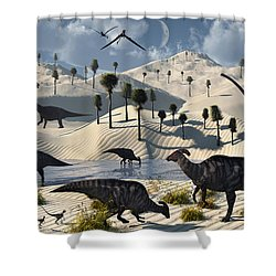 Dinosaurs Gather At A Life Saving Oasis Shower Curtain by Mark Stevenson