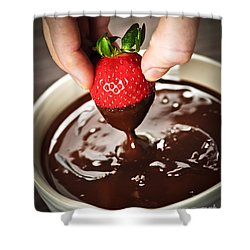 Dipping Strawberry In Chocolate Shower Curtain by Elena Elisseeva