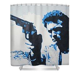 Dirty Harry Shower Curtain by Luis Ludzska