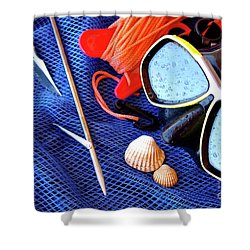 Dive Gear Shower Curtain by Carlos Caetano