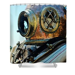 Dive Helmet Shower Curtain by Rene Triay Photography
