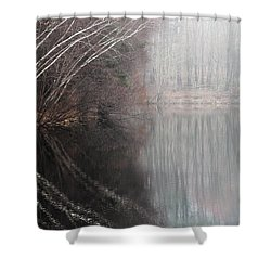 Divided By Nature Shower Curtain by Karol Livote