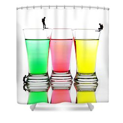 Diving In Colorful Water Shower Curtain by Paul Ge