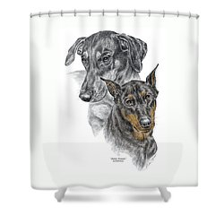 Shower Curtain featuring the drawing Dober-friends - Doberman Pinscher Portrait Color Tinted by Kelli Swan