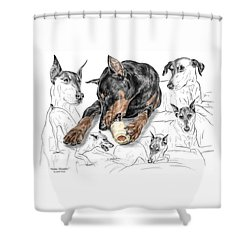 Shower Curtain featuring the drawing Dober-thoughts - Doberman Pinscher Montage Print Color Tinted by Kelli Swan
