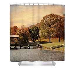 Dock For Two Shower Curtain by Jai Johnson