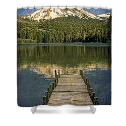 Dock On Mountain Lake Shower Curtain by Jill Battaglia