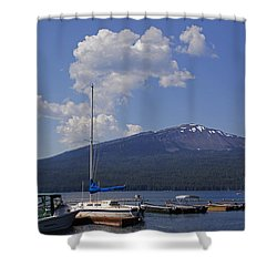 Docks At Diamond Lake Shower Curtain by Mick Anderson