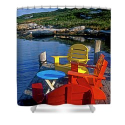 Dockside At Peggys Cove Shower Curtain by Dave Mills
