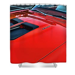 Dodge Super Bee Hood  In Red Shower Curtain by Paul Ward