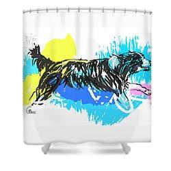 Dog Running In Water Shower Curtain
