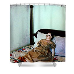 Doll On Four Poster Bed Shower Curtain by Susan Savad