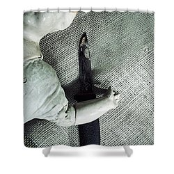 Doll With Knife Shower Curtain by Joana Kruse