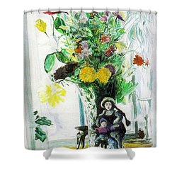Dolls And Flowers Shower Curtain