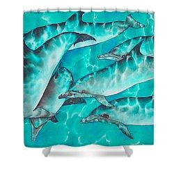 Dolphin Pod Shower Curtain by Daniel Jean-Baptiste