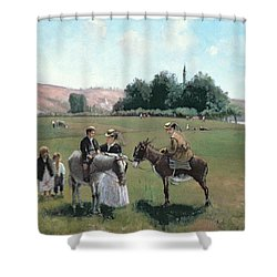 Donkey Ride Shower Curtain by Camille Pissarro