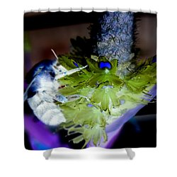 Don't Bee Blue Shower Curtain by Renee Trenholm