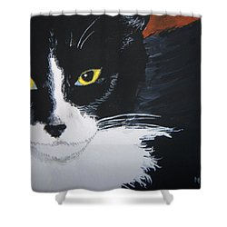 Shower Curtain featuring the painting Don't Bug Me by Norm Starks