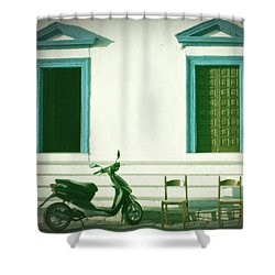 Doors And Chairs Shower Curtain by Joana Kruse