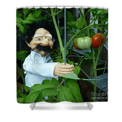 Shower Curtain featuring the photograph Dorf Chef Doll With Tomatoes by Renee Trenholm